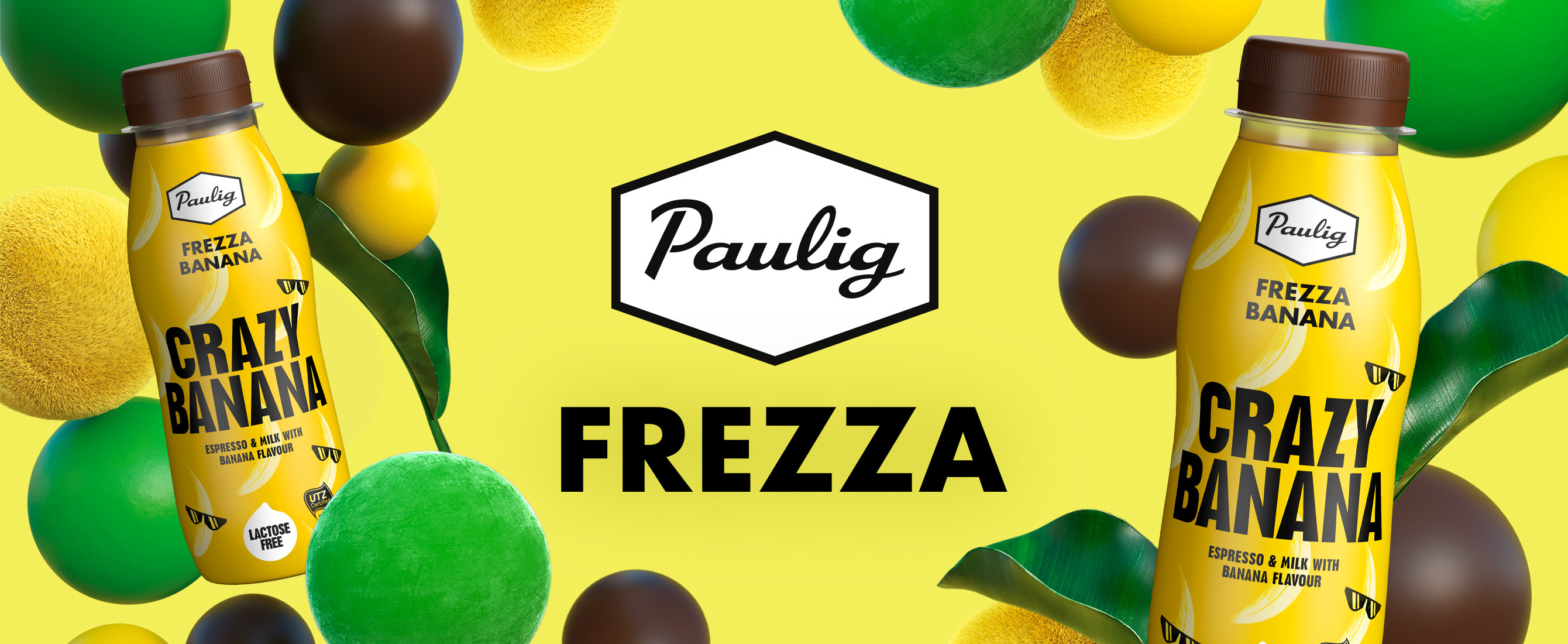 Frezza logo and bottles on yellow background with colorful shapes