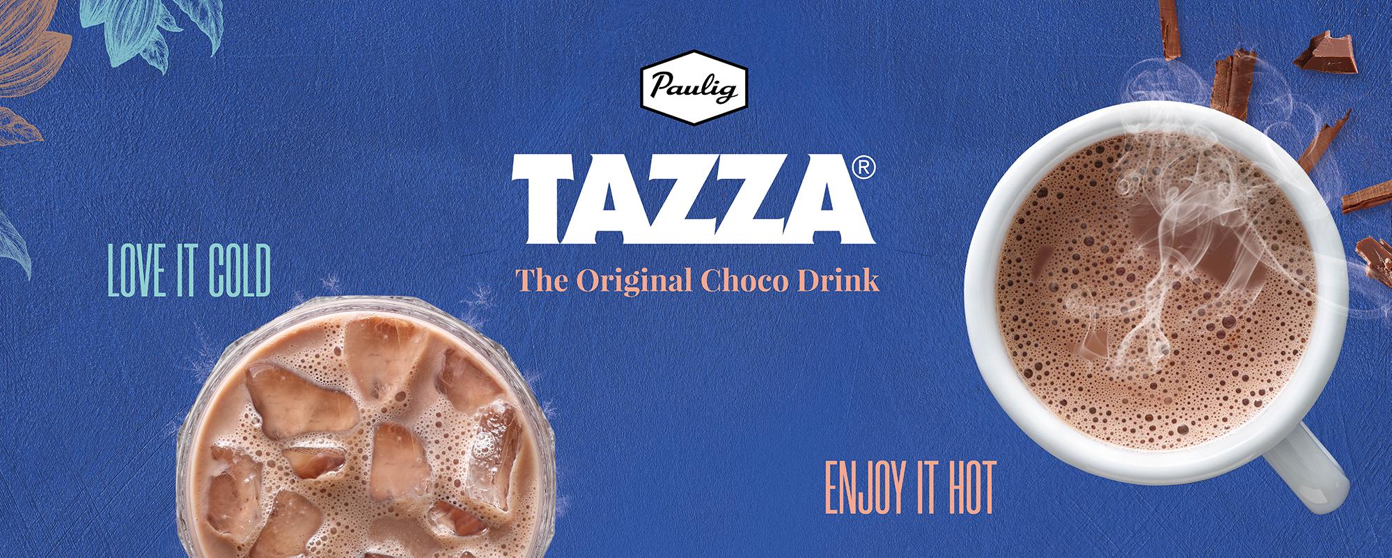 tazza-teksti sinisellä taustalla jossa on kaksi mukia kaakaota