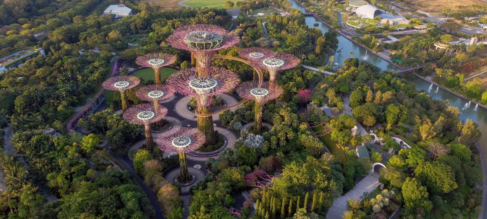 Singaporen Gardens by the bay kuvattuna ilmasta