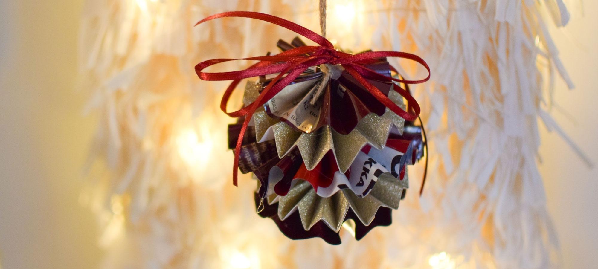 Joulukuusen koristeeksi soveltuu ihana DIY-koriste käytetystä kahvipakkauksesta