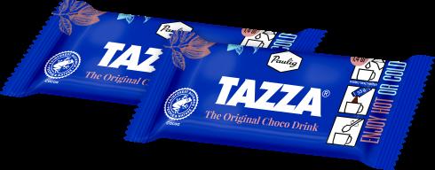 Sinisiä Tazza-kaakaopusseja läpinäkyvällä taustalla